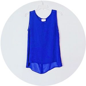 EUC Coveted Clothing Royal Blue Sheer Tank M
